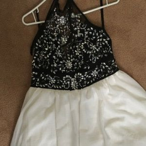Short black and white halter beaded dress